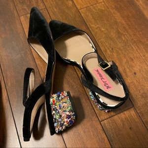 Velvet rainbow jewel Heels
